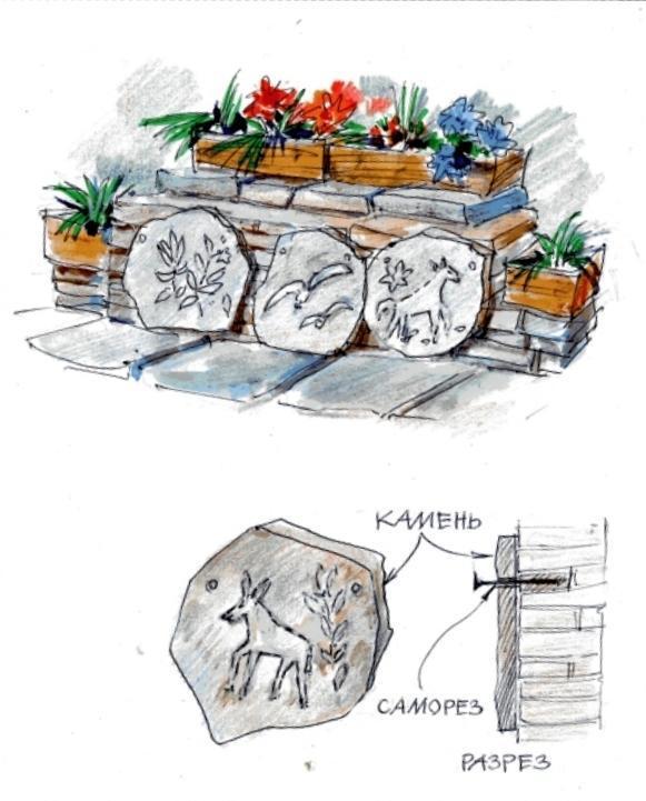 Наскальний живопис в саду виглядає незаяложений і оригінально